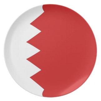 Assiette Plat de drapeau du Bahrain Fisheye