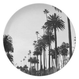 Assiette Plat de mélamine de palmiers de Los Angeles