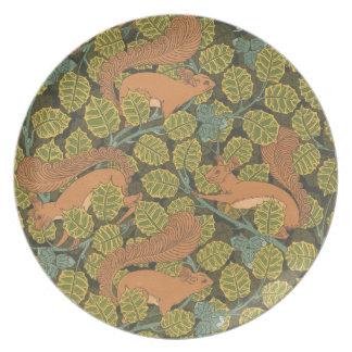 Assiette Plat de mélamine d'écureuil rouge de Nouveau d'art