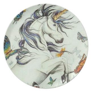 Assiette Plat de mélamine d'imaginaire de papillons de