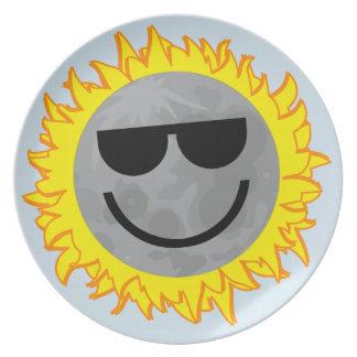 Assiette Plat d'éclipse d'Ecliptomaniac - bleu de ciel