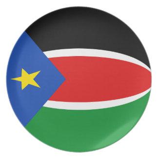Assiette Plat du sud de drapeau du Soudan Fisheye