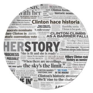 Assiette Plat historique de collage de titre de Hillary