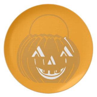 Assiette Plat orange de sourire de partie de seau de