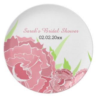 Assiette plat personnalisé floral rose