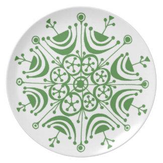 Assiette Plat vert de mélamine de flocon de neige