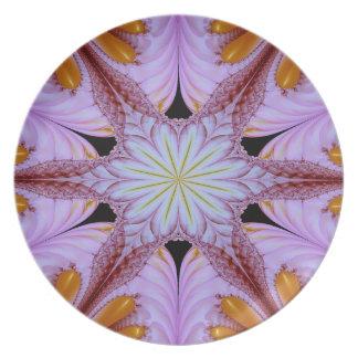 Assiette Pourpre floral et Brown d'étoile de motif abstrait