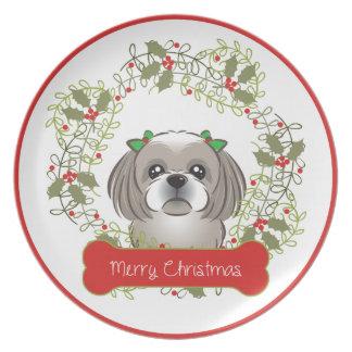 Assiette Race de chien de Noël collectable