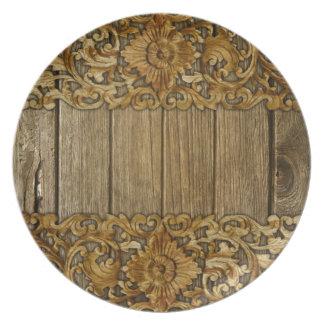 Assiette Rustique, floral, découpages, bois, antiquité,