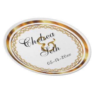 Assiette Souvenir de mariage en blanc et or