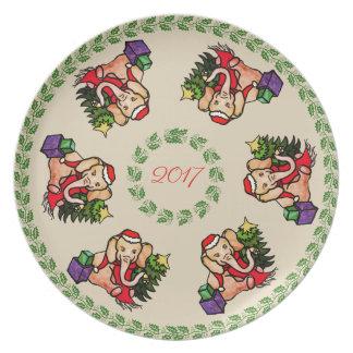 Assiette Souvenir vintage de Noël d'année d'éléphant de