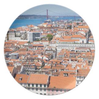 Assiette Vue aérienne de Lisbonne, Portugal