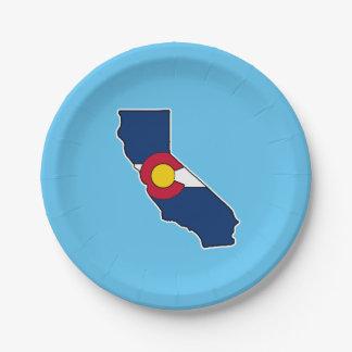 Assiettes En Carton Plaques à papier de drapeau de la Californie le