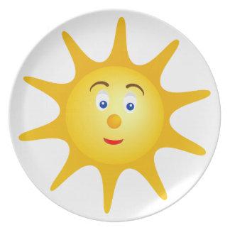 Assiettes En Mélamine Beau visage de sourire du soleil