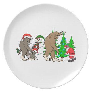 Assiettes En Mélamine Bonhomme de neige de Bigfoot Père Noël