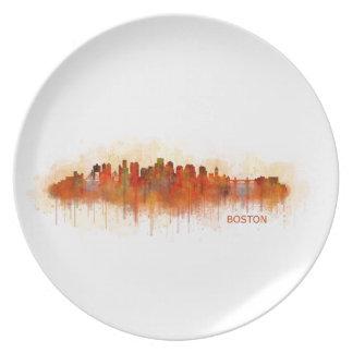 Assiettes En Mélamine Boston Ville Massachusetts skyline v3