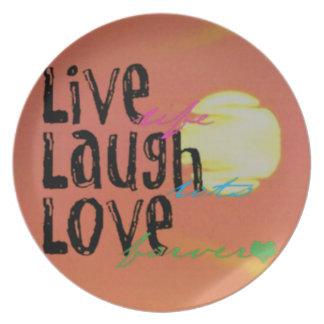 Assiettes En Mélamine Citation vivante d'amour de rire de soleil positif