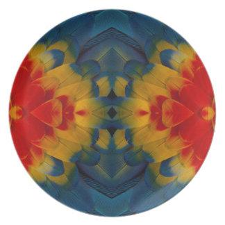 Assiettes En Mélamine Conception d'ara d'écarlate de kaléidoscope