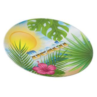 Assiettes En Mélamine Conception de plage de lever de soleil