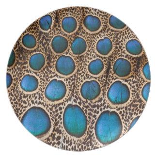 Assiettes En Mélamine conception de plume de Paon-faisan