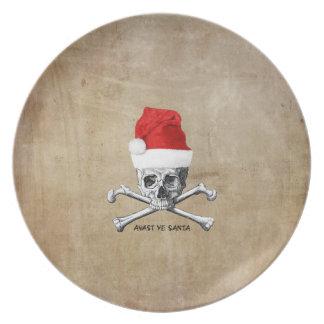 Assiettes En Mélamine Crâne de pirate de vacances et conceptions d'os