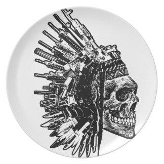 Assiettes En Mélamine Crâne tribal, armes à feu et plat de couteaux