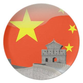 Assiettes En Mélamine Drapeau brillant chinois