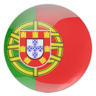 Assiettes En Mélamine Drapeau brillant du Portugal