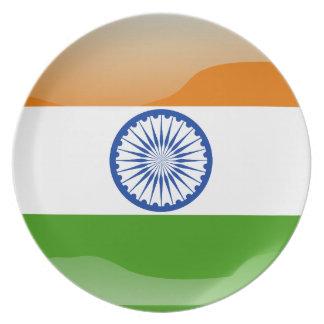 Assiettes En Mélamine Drapeau brillant indien