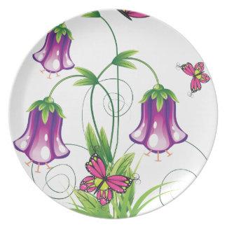 Assiettes En Mélamine Fleur de jacinthe des bois avec le feuille
