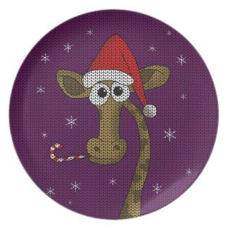 Assiettes En Mélamine Girafe de Noël