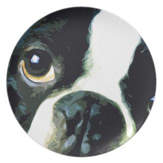 Assiettes En Mélamine grand Boston moderne Terrier