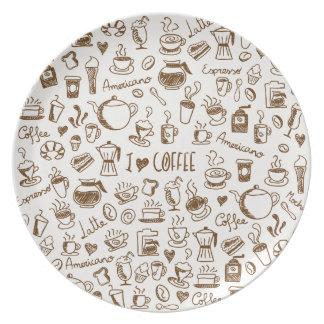 Assiettes En Mélamine Griffonnage de café