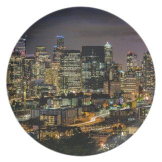 Assiettes En Mélamine Horizon de Seattle la nuit