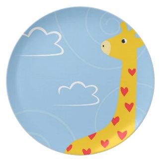 Assiettes En Mélamine Illustration de girafe avec les coeurs minuscules