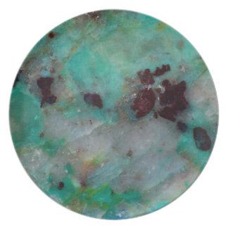 Assiettes En Mélamine Jaspe bleu de Chrysocolla
