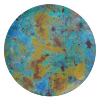 Assiettes En Mélamine Jaspe bleu repéré de Chrysocolla