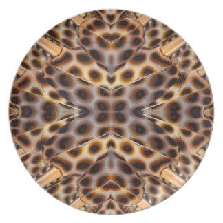 Assiettes En Mélamine Kaléidoscope de plume de faisan de Brown