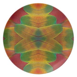 Assiettes En Mélamine Kaléidoscope de plume de perroquet d'ara