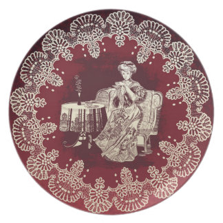 Assiettes En Mélamine la dame boit du thé