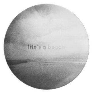 Assiettes En Mélamine La vie est une plage - photo typographique noire