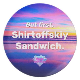 Assiettes En Mélamine Mais d'abord, sandwich à Shirtoffskiy