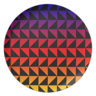 Assiettes En Mélamine Motif coloré de triangle d'arc-en-ciel