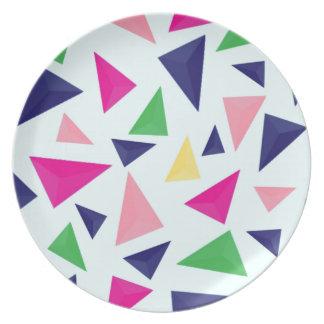 Assiettes En Mélamine Motif géométrique coloré II