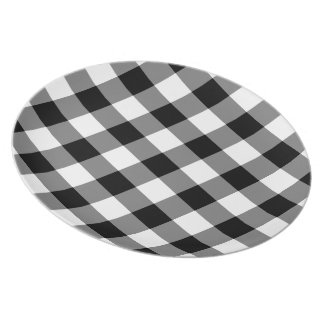 Assiettes En Mélamine Motif noir et blanc de guingan