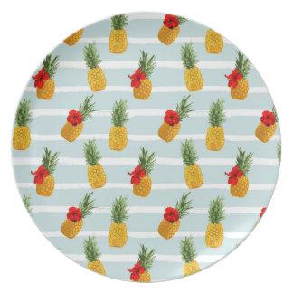 Assiettes En Mélamine Motif sans couture d'ananas hawaïen d'été
