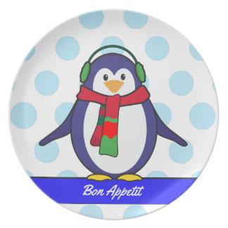 Assiettes En Mélamine Noël mignon de pingouin avec votre nom