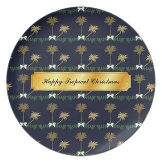 Assiettes En Mélamine Noël tropical de bleu et d'or avec des palmiers