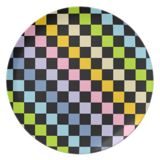 Assiettes En Mélamine Noir en pastel Checkered d'arc-en-ciel