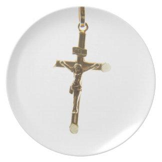 Assiettes En Mélamine Or croisé de Jésus-Christ horizontal